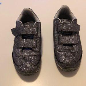 Girls silver sparkle puma size 10.5